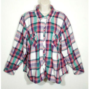 SONOMA Women Snap Button Up Shirt Top Plaid 2962E1
